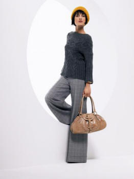 Wallis Limited Edition Range grey check wide leg trousers £45 (65 Euros). Mustard knitted beret £8 (12 Euros). Bag £30 (44 Euros). Accessories from a selection at Wallis.